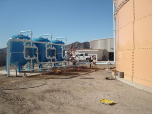 Res-Kem Corp Triple Sand Filter installed at site on California/Arizona border showing 823,000 gallon reservoir tank on December 8, 2008