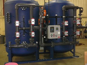 A 150 GPM demineralizer that shows a nema 4x control panel that has panel view 300 hmi